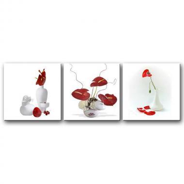 Модульная картина для столовой Красные цветы в белой вазе