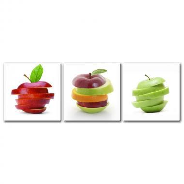 Модульная картина для столовой Яблоки нарезанные дольками