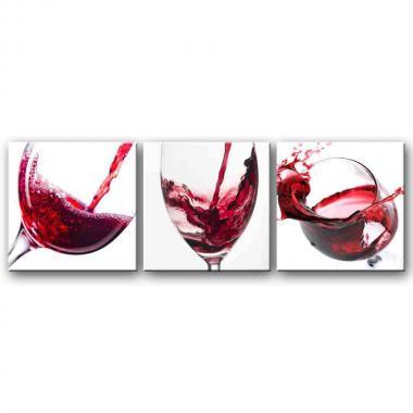 Модульная картина для столовой Бокал с вином макро