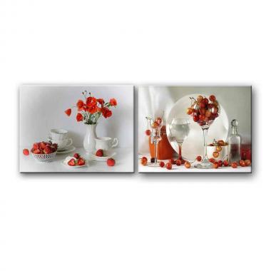Модульная картина для столовой Вишня в бокале
