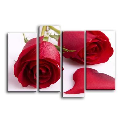 Две красные розы и сердце